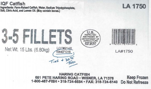 Haring Catfish is First Domestic Producer to Recall Product Under USDA for Positive Antibiotics Test